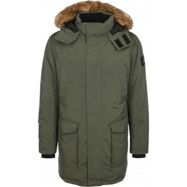 Calvin Klein Jeans&nbspFur Trimmed Down Men Winter Coats olive continuous button tape, full-length front zip, wind protection strip FMMA207
